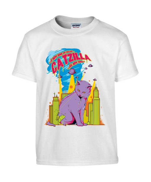 T-shirt Homme Catzilla [Animaux, Films, Godzilla, Parodie, Chat, Cinéma] T-shirt Manches Courtes, Col Rond
