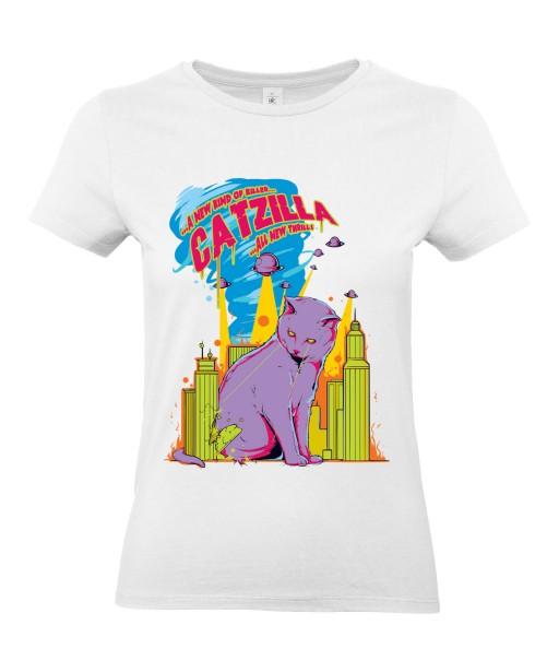 T-shirt Femme Catzilla [Animaux, Films, Godzilla, Parodie, Chat, Cinéma] T-shirt Manches Courtes, Col Rond