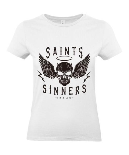 T-shirt Femme Tête de Mort Biker [Skull, Motard, Moto, Ange, Démon] T-shirt Manches Courtes, Col Rond