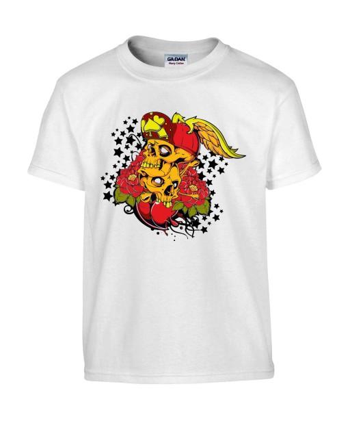 T-shirt Homme Tête de Mort Tattoo [Skull, Tatouage] T-shirt Manches Courtes, Col Rond