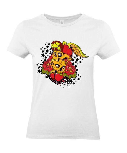 T-shirt Femme Tête de Mort Tattoo [Skull, Tatouage] T-shirt Manches Courtes, Col Rond