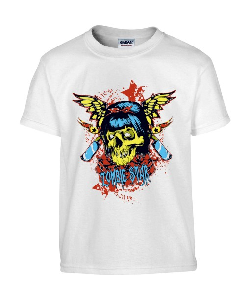T-shirt Homme Tête de Mort Zombie Star [Skull, Horreur, Gore, Gothique] T-shirt Manches Courtes, Col Rond