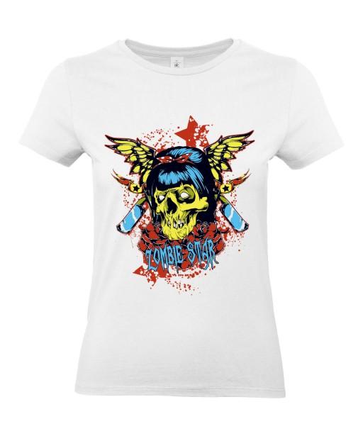 T-shirt Femme Tête de Mort Zombie Star [Skull, Horreur, Gore, Gothique] T-shirt Manches Courtes, Col Rond