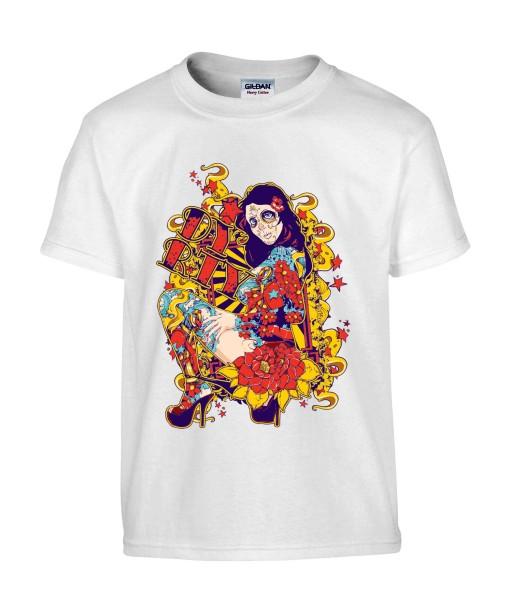T-shirt Homme Tête de Mort Sexy [Skull, Gothique, Mexique, Fête des Morts, Calavera, Santa Muerte] T-shirt Manches Courtes, Col Rond
