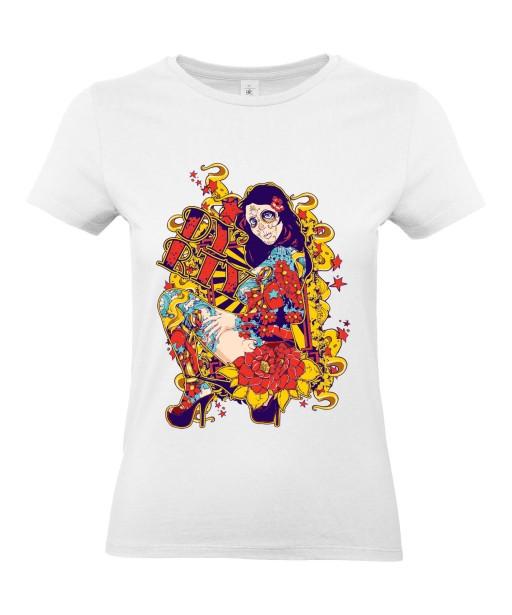 T-shirt Femme Tête de Mort Sexy [Skull, Gothique, Mexique, Fête des Morts, Calavera, Santa Muerte] T-shirt Manches Courtes, Col Rond