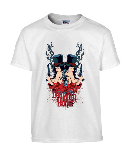T-shirt Homme Sexy Die With Honnor [Citation, Gothique, Roses, Dague, Revolver] T-shirt Manches Courtes, Col Rond