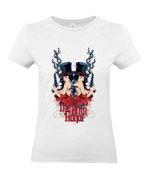 T-shirt Femme Sexy Die With Honnor [Citation, Gothique, Roses, Dague, Revolver] T-shirt Manches Courtes, Col Rond