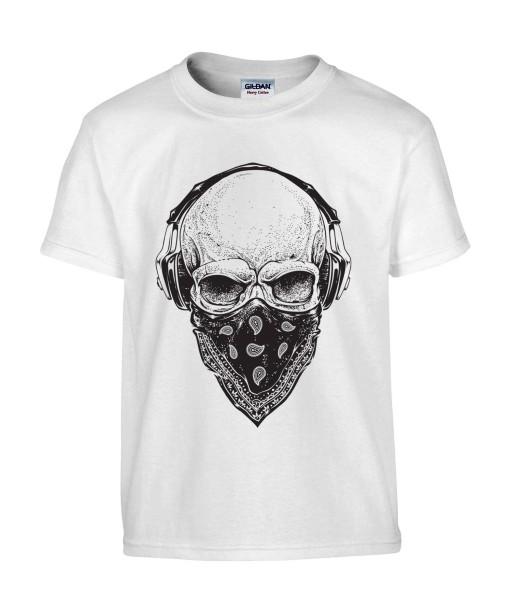 T-shirt Homme Tête de Mort Gangster [Skull, Urban, Hip-Hop, Skater] T-shirt Manches Courtes, Col Rond
