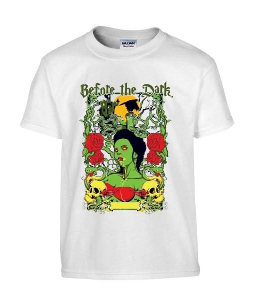 T-shirt Homme Tête de Mort Zombie [Before The Dark, Horreur, Trash, Roses, Gothique] T-shirt Manches Courtes, Col Rond
