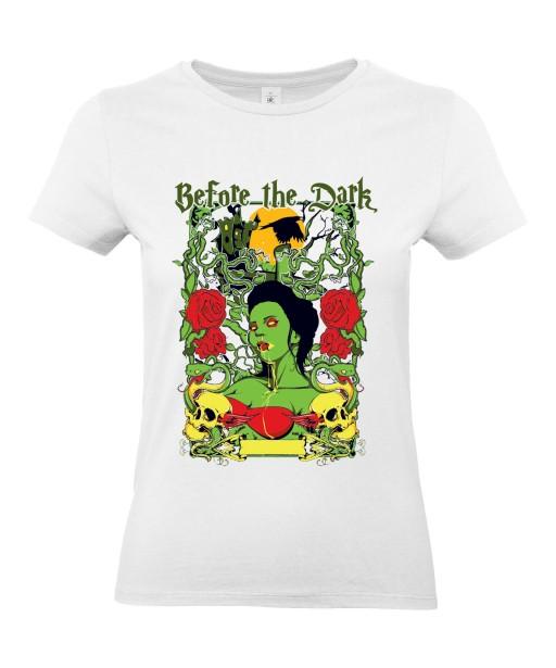 T-shirt Femme Tête de Mort Zombie [Before The Dark, Horreur, Trash, Roses, Gothique] T-shirt Manches Courtes, Col Rond
