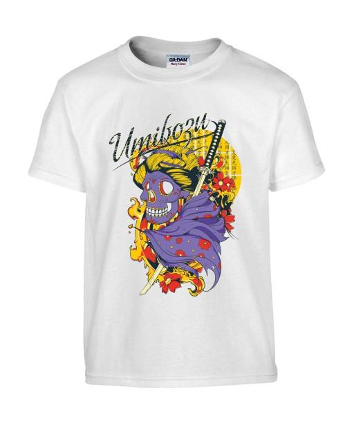 T-shirt Homme Tête de Mort Samouraï [Umibozu, Trash, Japonais, Katana] T-shirt Manches Courtes, Col Rond