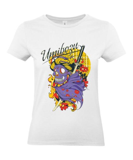 T-shirt Femme Tête de Mort Samouraï [Umibozu, Trash, Japonais, Katana] T-shirt Manches Courtes, Col Rond