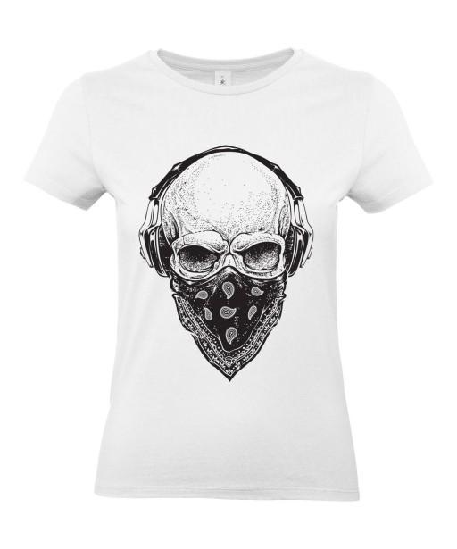T-shirt Femme Tête de Mort Gangster [Skull, Urban, Hip-Hop, Skater] T-shirt Manches Courtes, Col Rond