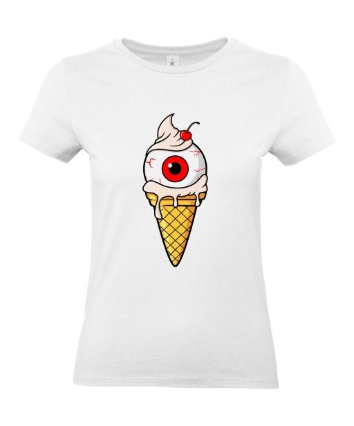 T-shirt Femme Trash Glace Oeil Cerise [Humour Noir, Swag, Fun, Drôle] T-shirt Manches Courtes, Col Rond