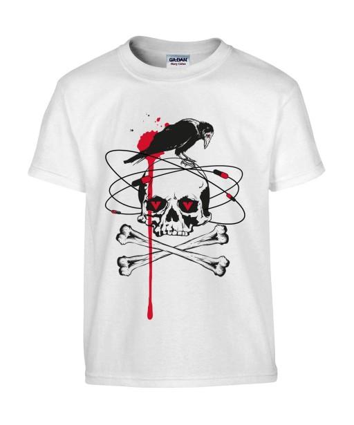 T-shirt Homme Tête de Mort Corbeau [Skull, Gothique, Sang, Os Croisés] T-shirt Manches Courtes, Col Rond