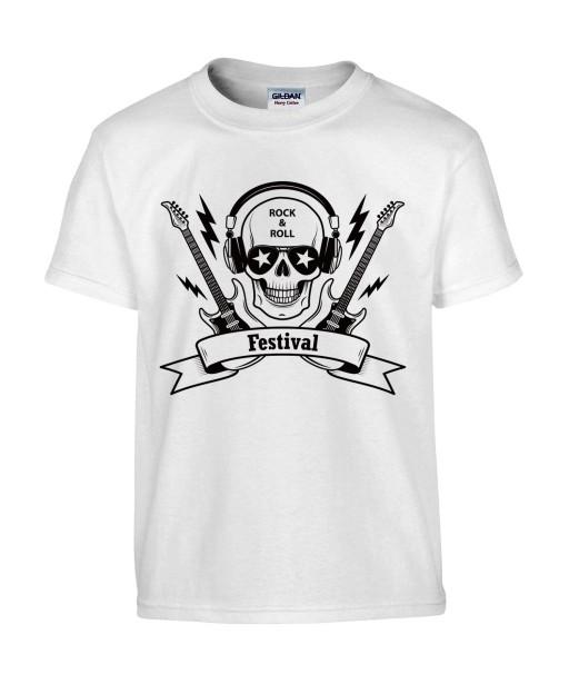T-shirt Homme Tête de Mort Rock [Skull, Musique, Guitare] T-shirt Manches Courtes, Col Rond