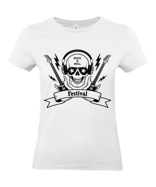 T-shirt Femme Tête de Mort Rock [Skull, Musique, Guitare] T-shirt Manches Courtes, Col Rond