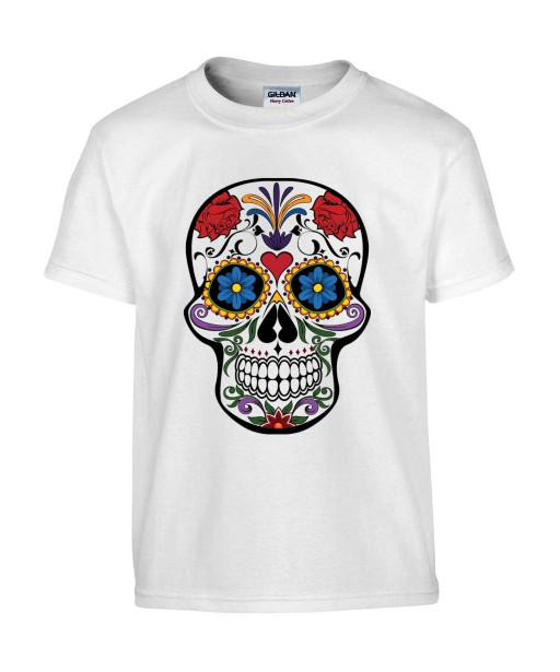 T-shirt Homme Tête de Mort Calavera [Skull, Gothique, Mexique, Fête des Morts, Santa Muerte] T-shirt Manches Courtes, Col Rond