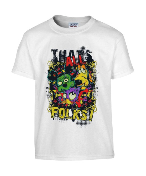 T-shirt Homme Parodie Disney [Fun, Drôle, Trash, Mickey, Donald, Pluto, That's All Folks] T-shirt Manches Courtes, Col Rond