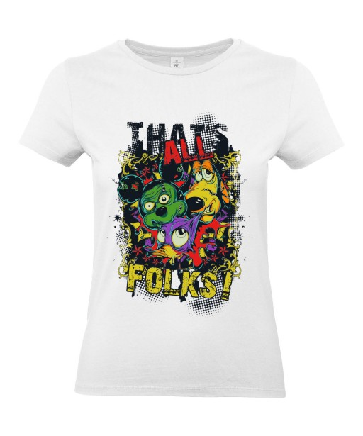 T-shirt Femme Parodie Disney [Fun, Drôle, Trash, Mickey, Donald, Pluto, That's All Folks] T-shirt Manches Courtes, Col Rond