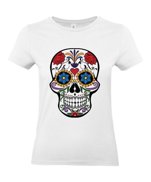 T-shirt Femme Tête de Mort Calavera [Skull, Gothique, Mexique, Fête des Morts, Santa Muerte] T-shirt Manches Courtes, Col Rond