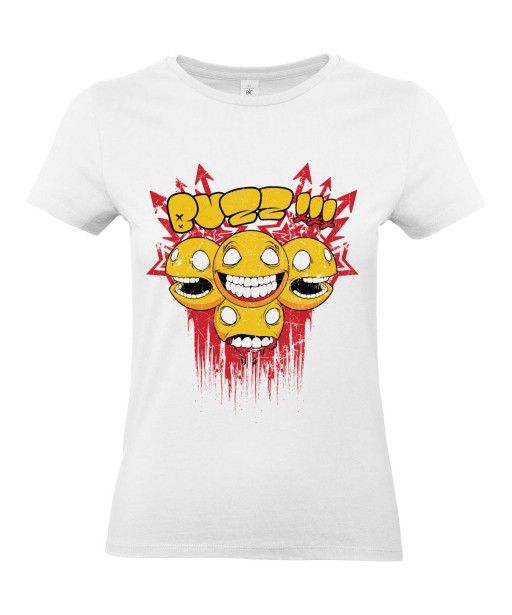 T-shirt Femme Smiley Buzz [Trash, Gore, Street Art, Urban, Swag, Graffiti] T-shirt Manches Courtes, Col Rond