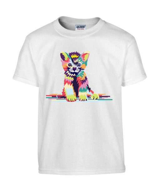 T-shirt Homme Pop Art Chaton [Graphique, Animaux, Géométrique, Chat, Abstract, Colorful] T-shirt Manches Courtes, Col Rond