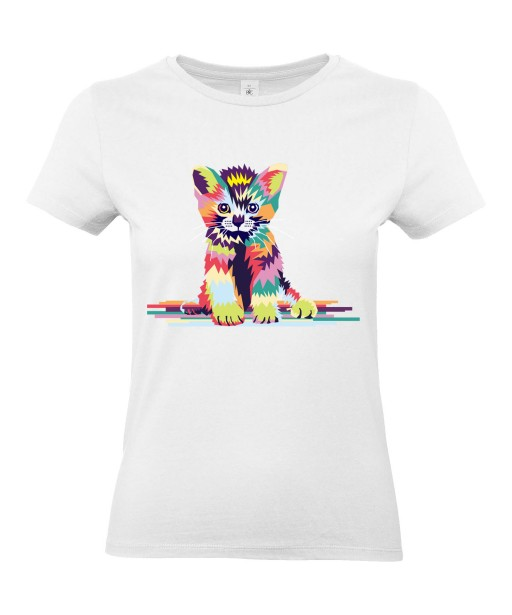 T-shirt Femme Pop Art Chaton [Graphique, Animaux, Géométrique, Chat, Abstract, Colorful] T-shirt Manches Courtes, Col Rond