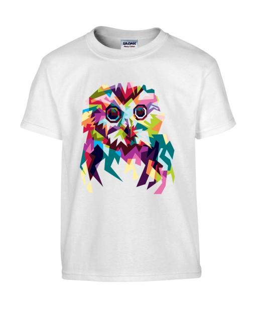T-shirt Homme Pop Art Chouette [Graphique, Animaux, Géométrique, Oiseau, Hibou, Abstract, Colorful] T-shirt Manches Courtes, Col Rond