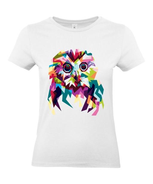 T-shirt Femme Pop Art Chouette [Graphique, Animaux, Géométrique, Oiseau, Hibou, Abstract, Colorful] T-shirt Manches Courtes, Col Rond