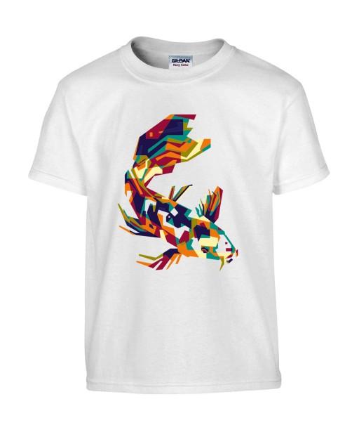 T-shirt Homme Pop Art Carpe Koï [Graphique, Animaux, Géométrique, Poisson Abstract, Colorful] T-shirt Manches Courtes, Col Rond