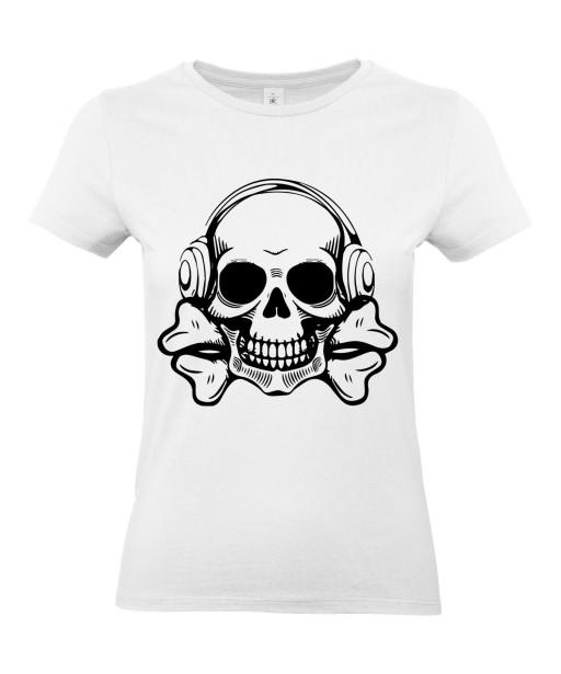 T-shirt Femme Tête de Mort Musique [Skull, Design] T-shirt Manches Courtes, Col Rond