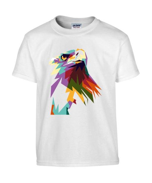 T-shirt Homme Pop Art Aigle [Graphique, Animaux, Géométrique, Oiseau, Abstract, Colorful] T-shirt Manches Courtes, Col Rond