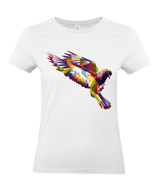T-shirt Femme Pop Art Oiseau [Graphique, Animaux, Géométrique, Abstract, Colorful] T-shirt Manches Courtes, Col Rond