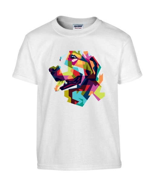 T-shirt Homme Pop Art Chien [Graphique, Animaux, Géométrique, Labrador, Golden Retriever, Abstract, Colorful] T-shirt Manches Courtes, Col Rond