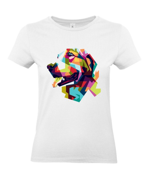 T-shirt Femme Pop Art Chien [Graphique, Animaux, Géométrique, Labrador, Golden Retriever, Abstract, Colorful] T-shirt Manches Courtes, Col Rond