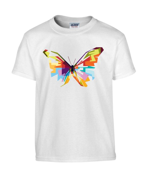 T-shirt Homme Pop Art Papillon [Graphique, Animaux, Géométrique, Abstract, Colorful] T-shirt Manches Courtes, Col Rond