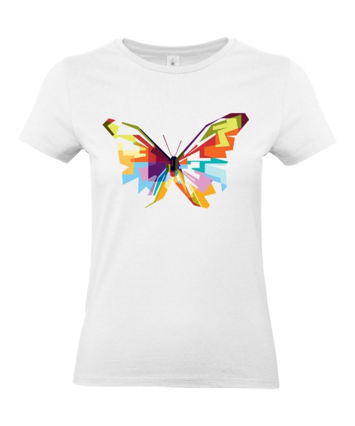 T-shirt Femme Pop Art Papillon [Graphique, Animaux, Géométrique, Abstract, Colorful] T-shirt Manches Courtes, Col Rond