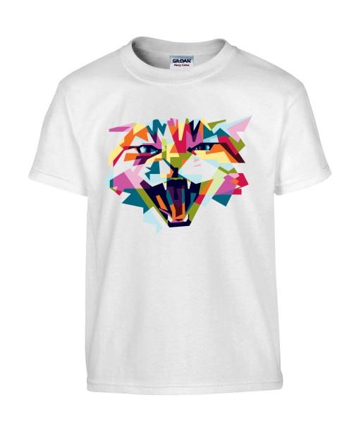T-shirt Homme Pop Art Chat Colère [Graphique, Animaux, Géométrique, Abstract, Colorful] T-shirt Manches Courtes, Col Rond