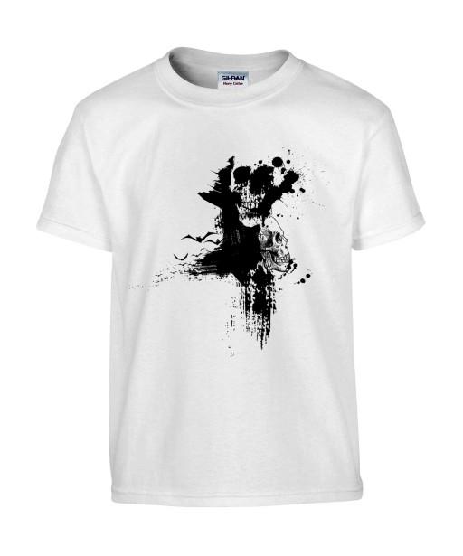T-shirt Homme Tête de Mort Graphique [Skull, Gothique, Tâches] T-shirt Manches Courtes, Col Rond