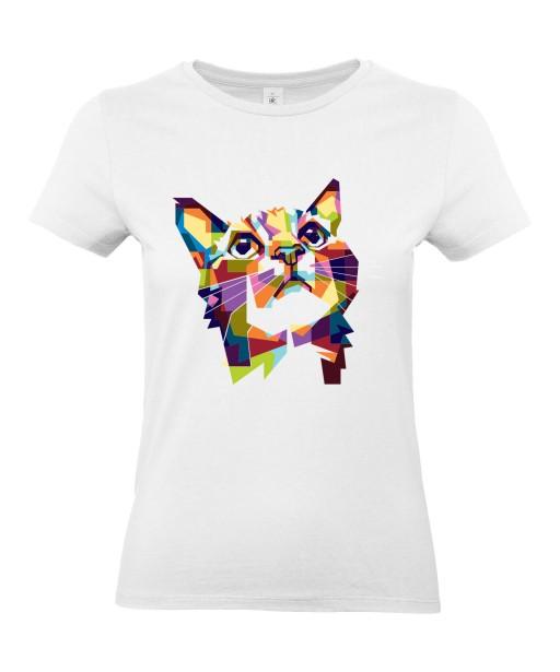 T-shirt Femme Pop Art Chat [Graphique, Animaux, Géométrique, Abstract, Colorful] T-shirt Manches Courtes, Col Rond