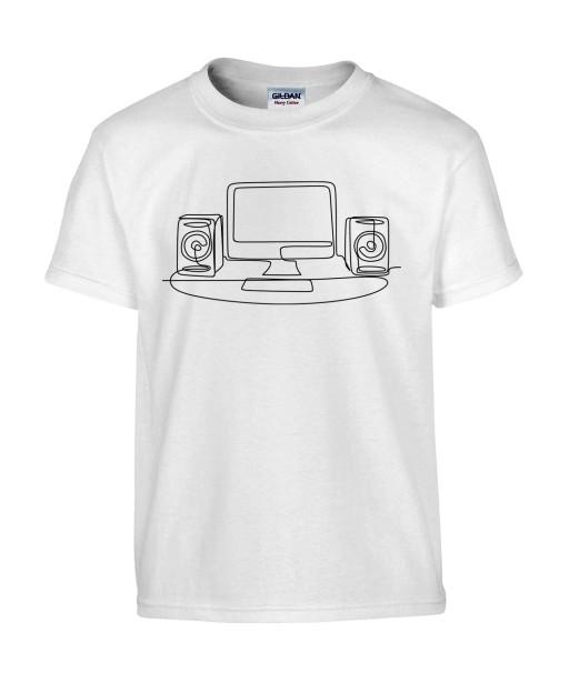 T-shirt Homme Ligne Geek [Graphique, Design, Trait, Gamer, Ordinateur] T-shirt Manches Courtes, Col Rond