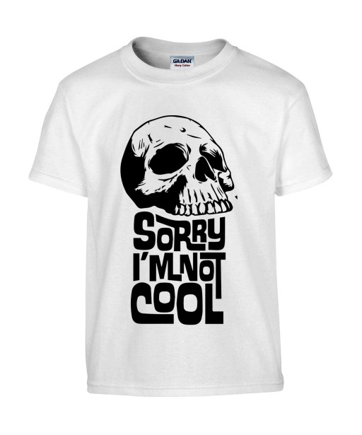 T-shirt Homme Tête de Mort Cool [Skull, Gothique, Sorry I m Not Cool] T-shirt Manches Courtes, Col Rond