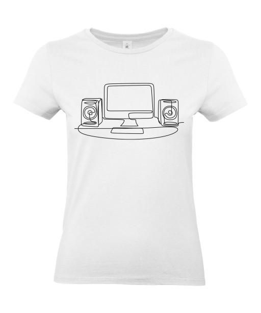 T-shirt Femme Ligne Geek [Graphique, Design, Trait, Gamer, Ordinateur] T-shirt Manches Courtes, Col Rond