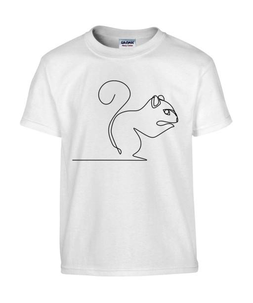 T-shirt Homme Ligne Écureuil [Graphique, Design, Trait, Animaux] T-shirt Manches Courtes, Col Rond