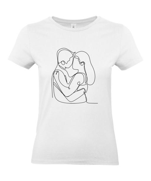 T-shirt Femme Ligne Couple Flirt [Graphique, Design, Trait, Mariage, Romantique, Amour, Love] T-shirt Manches Courtes, Col Rond