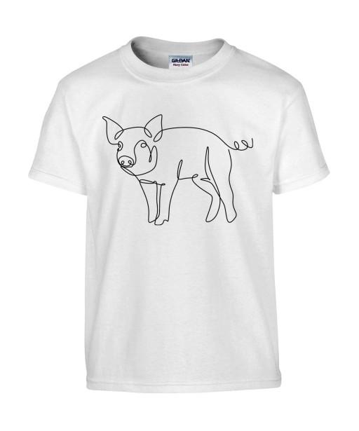 T-shirt Homme Ligne Cochon Profil [Graphique, Design, Trait, Animaux] T-shirt Manches Courtes, Col Rond