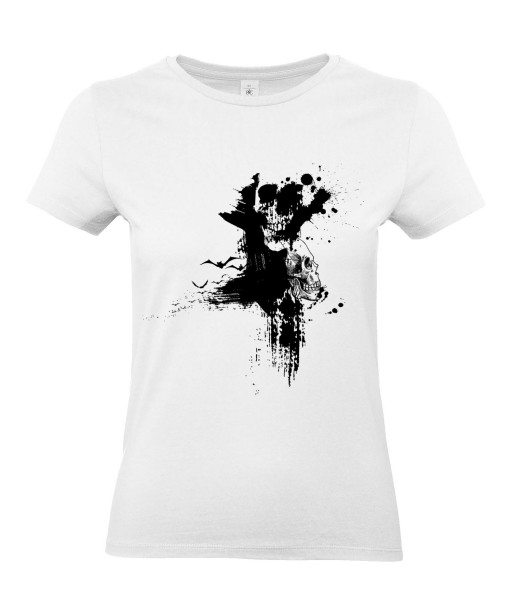 T-shirt Femme Tête de Mort Graphique [Skull, Gothique, Tâches] T-shirt Manches Courtes, Col Rond