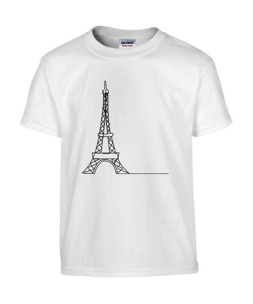 T-shirt Homme Ligne Tour Eiffel [Graphique, Design, Trait, Paris, France] T-shirt Manches Courtes, Col Rond