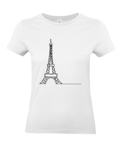 T-shirt Femme Ligne Tour Eiffel [Graphique, Design, Trait, Paris, France] T-shirt Manches Courtes, Col Rond